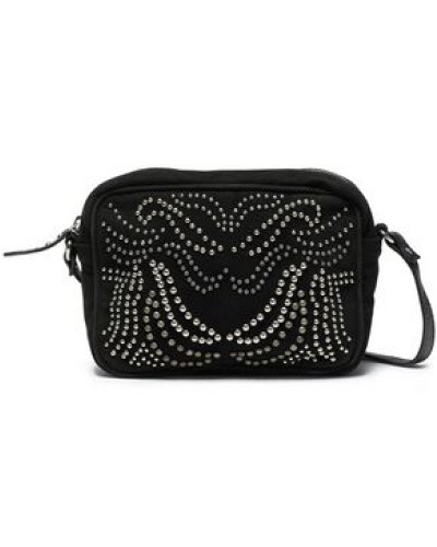 Studded Suede Shoulder Bag Black Size --