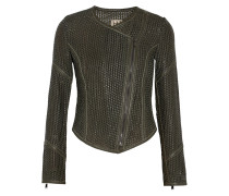 Woven Leather Biker Jacket Armeegrün