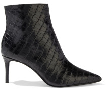 Frema Croc-effect Leather Ankle Boots