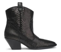 Snake-effect Leather Boots Chocolate