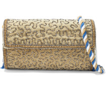 Woman Wolvy Bead-embellished Cotton-velvet Clutch Sage Green