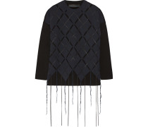 Fringed Open-knit Wool-blend Sweater Navy