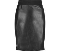 Paneled Faux Leather And Stretch-jersey Mini Skirt Schwarz