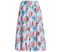 Jane Pleated Floral-print Cloqué Midi Skirt