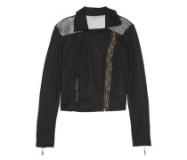 Faux leather-trimmed mesh biker jacket