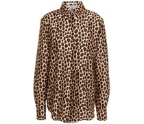 Hemd aus Glänzendem Twill mit Leopardenprint