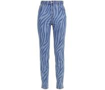Zebra-print High-rise Slim-leg Jeans