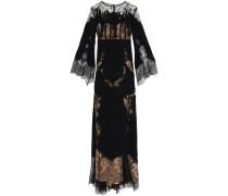 Appliquéd Lace-paneled Silk-blend Cady Gown