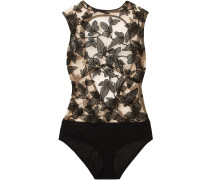 Fleur Interdit Open-back Embroidered Stretch-tulle And Jersey Bodysuit