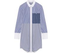 Jay striped cotton-poplin mini shirt dress