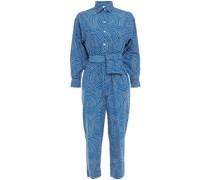 June Bedruckter Cropped Jumpsuit aus Baumwollpopeline mit Gürtel