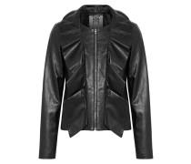 Cascade Ruffled Leather Jacket Schwarz
