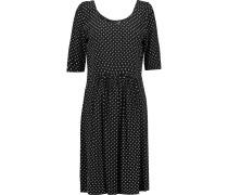 Polka-dot Crepe Dress Schwarz