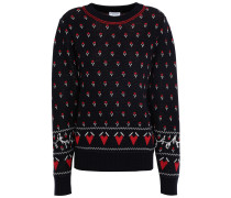 Woman Wool-blend Jacquard Sweater Navy