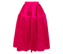 Gathered Silk-dupioni Midi Skirt