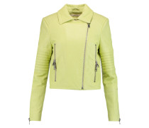 Aiah Quilted Leather Biker Jacket Limette