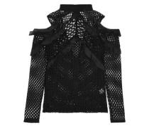 Cutout Ruffled Organza-trimmed Guipure Lace Top Black