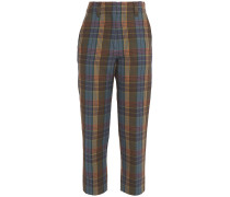Cropped Checked Cotton-twill Tapered Pants
