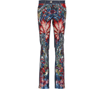Mid-rise Leather-trimmed Sequined Straight-leg Jeans Mittelblauer Denim