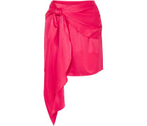 Draped Silk-charmeuse Mini Skirt