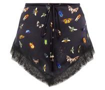 Bedruckte Shorts aus Seidensatin mit Spitzenbesatz und Kristallverzierung