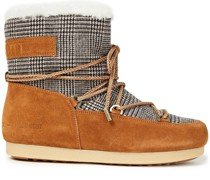 Far Side Low Lace-up Checked Woven And Suede Snow Boots