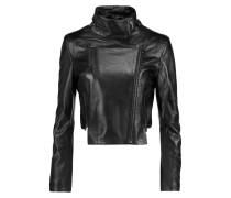 Connix Cropped Leather Jacket Schwarz