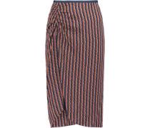 Lexia printed stretch silk-blend satin skirt