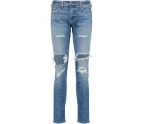 Dre Distressed Low-rise Slim-leg Jeans Mittelblauer Denim