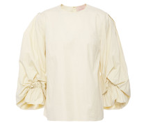 Woman Gathered Cotton-poplin Top Pastel Yellow