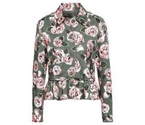 Floral-print Denim Jacket Army Green