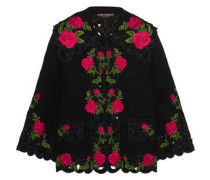 Embroidered wool-blend jacket