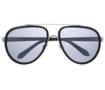 Aviator-style Silver-tone And Acetate Sunglasses Black Size --