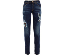 Distressed Faded Mid-rise Skinny Jeans