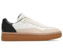 Suede-paneled quilted leather sneakers