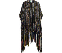 Oversized Embellished Bouclé-tweed Cape Schwarz