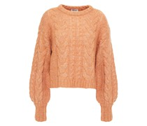 Cinna Cropped Cable-knit Wool-blend Sweater