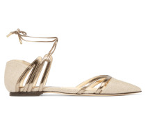 Hime Cutout Canvas And Mirrored-leather Point-toe Flats Beige