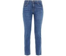 Halbhohe Cropped Jeans mit Schmalem Bein und Fransen