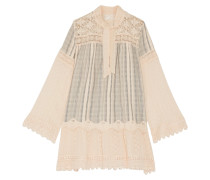 Lace-paneled Striped Cotton-gauze Mini Dress Creme