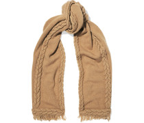 Cable-knit Wool And Cashmere-blend Scarf Sand