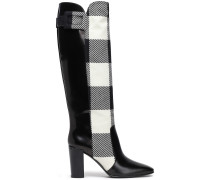 Paneled Checked Jacquard And Leather Boots