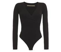 Wrap-effect Ribbed Jersey Bodysuit