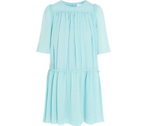 Silk-cloqué Mini Dress Himmelblau