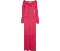 Raya Open-knit Maxi Dress Fuchsia
