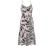 Ciella Striped Georgette-paneled Floral-print Silk Crepe De Chine Dress