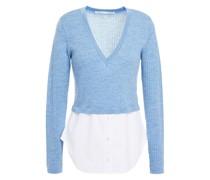 Lydia Melierter Pullover aus Gerippter Wolle mit Einsätzen aus Popeline aus Einer Baumwollmischung