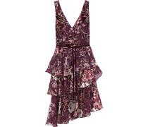 Asymmetric Tiered Glittered Devoré-velvet Dress