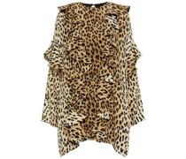 Minikleid aus Seiden-crêpe mit Leopardenprint und Rüschen
