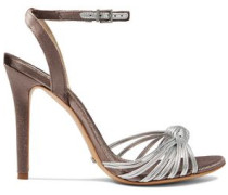 Knotted metallic leather and velvet sandals